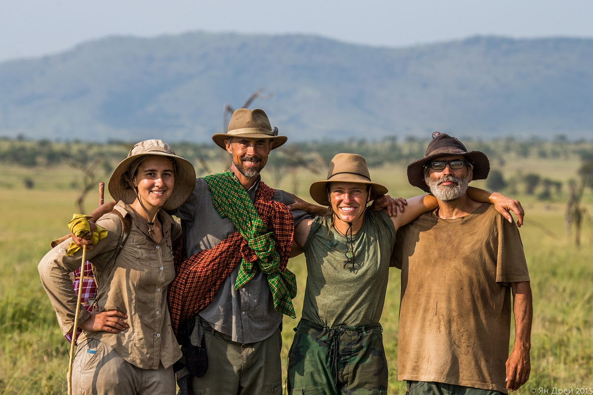 TANZANIA, AFRICA - Amy, Jens, Jessica, and David posing for a photo opportunity. (Photo Credit: National Geographic Channels/Natasha Kutukova)